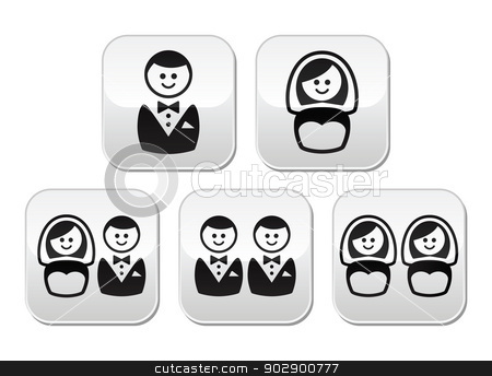 Hetero, gay or lesbian wedding buttons set stock vector clipart, Wedding buttons set - groom, bride, couples isolated on white by Agnieszka Murphy