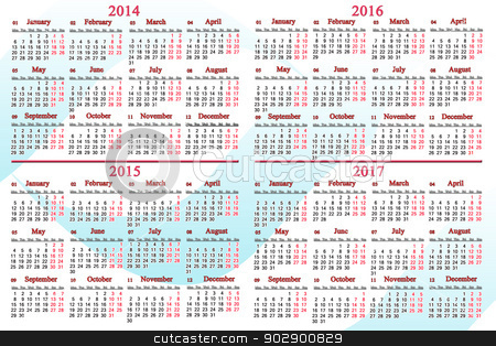 usual calendar for 2014 - 2017 years stock photo, usual office calendar for 2014 - 2017 years by Alexander Matvienko