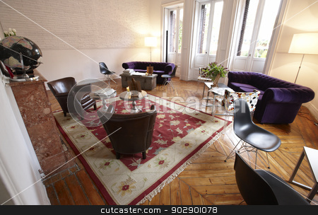 Home Living Room stock photo, Home Living Room set with decoration elements by ABBPhoto
