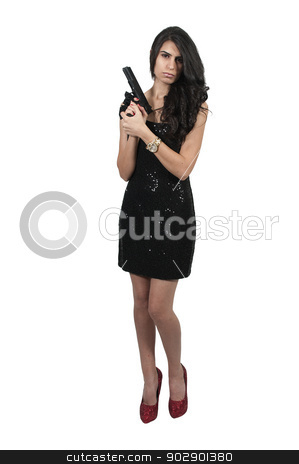 Female Detective stock photo, Beautiful police detective woman on the job with a gun by Robert Byron