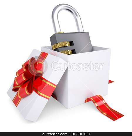 Combination lock in a gift box stock photo, Combination lock in a gift box. 3d render isolated on white background by cherezoff