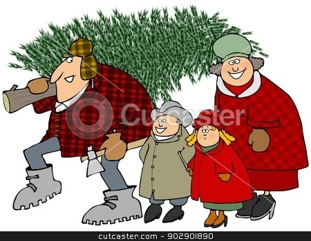 Family carrying a Christmas tree stock photo, This illustration depicts a family taking home their Christmas tree. by Dennis Cox