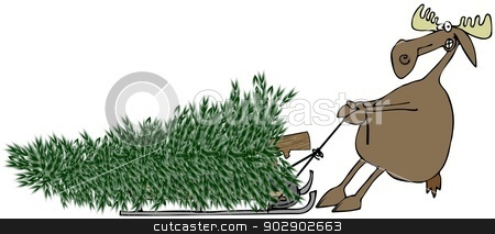 Moose pulling fir tree on sled stock photo, This illustration depicts a moose pulling a large Christmas tree on a sled. by Dennis Cox