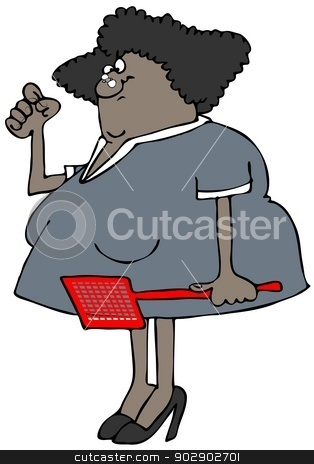 Woman with a fly on her nose stock photo, This illustration depicts a woman holding a fly swatter and trying to flip a bug from her nose. by Dennis Cox