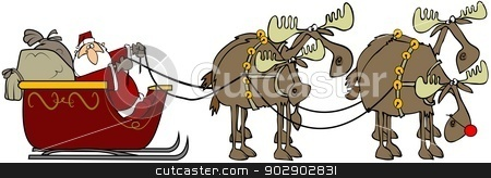 Santa and his reinmoose stock photo, This illustration depicts Santa and his sleigh being pulled by four moose. by Dennis Cox