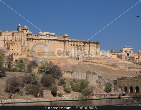 amber fort stock photo,  Beautiful Amber Fort near Jaipur city in Rajastan,India by nevenm