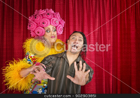 Scared Man Being Kissed stock photo, Big drag queen trying to kiss a scared man by Scott Griessel