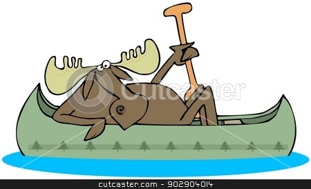 Moose paddling a canoe stock photo, This illustration depicts a moose in a canoe holding a paddle. by Dennis Cox