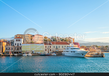 Beautiful panorama with cloudscape stock photo, Panoramic View near Mediterranean coast in Crete. Greece. Chania by Imaster
