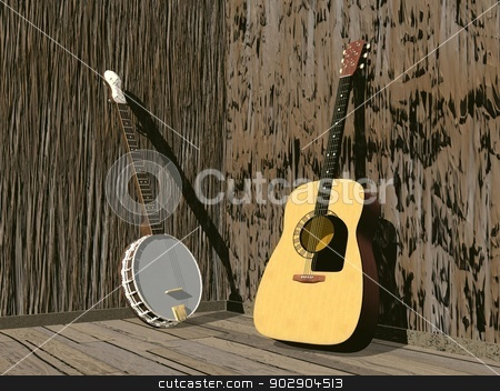 Banjo and guitar- 3D render stock photo, One banjo and guitar in a room of brown wood by Elenarts