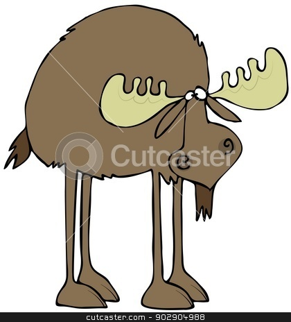 Long legged moose stock photo, This illustration depicts a long legged moose with its head hung low. by Dennis Cox