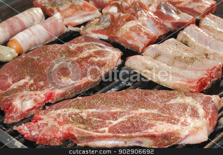 Grill meat stock photo, Different kinds of meat and sausages from the grill by Torsten Dietrich