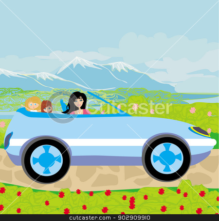 woman with children goes on vacation stock vector clipart, woman with children goes on vacation by Jacky Brown