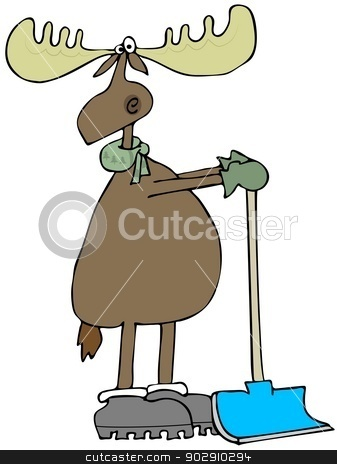 Moose leaning on a snow shovel stock photo, This illustration depicts a moose wearing mittens and a scarf leaning on a snow shovel. by Dennis Cox