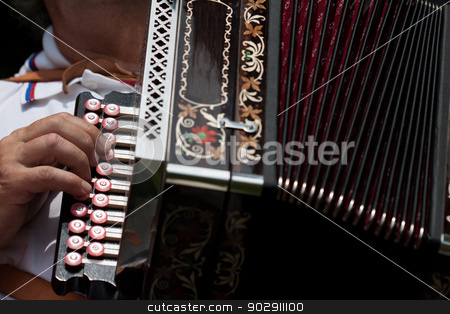 The accordion stock photo, Detail of fingers playing the accordion with buttons by Marian Bauer
