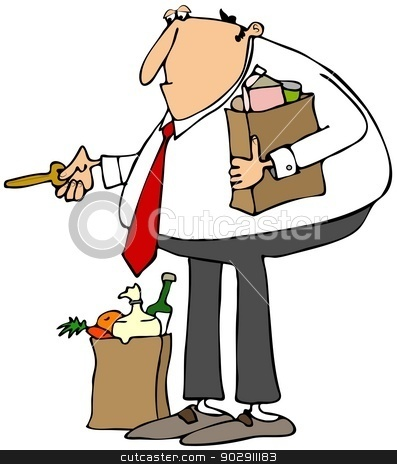 Bringing home the groceries stock photo, This illustration depicts a man carrying bags of groceries holding out a house key. by Dennis Cox