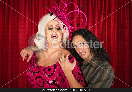 Sensual Odd Couple stock photo, Sensual man in drag with handsome boyfriend by Scott Griessel