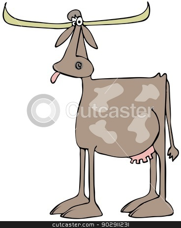 Longhorn cow stock photo, This illustration depicts a spotted cow with very long horns. by Dennis Cox