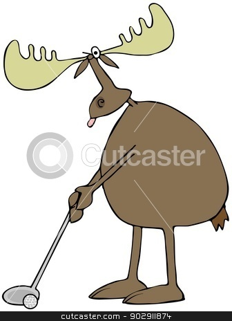 Golfing moose stock photo, This illustration depicts a moose about to swing a golf club. by Dennis Cox