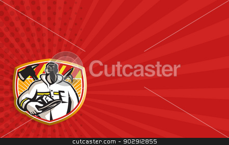 Fireman Firefighter Axe Hook Pike Pole stock photo, Business card template showing illustration of a fireman fire fighter emergency worker looking up holding visor helmet with fire axe and hook pike pole crossed set inside shield done in retro style. by patrimonio