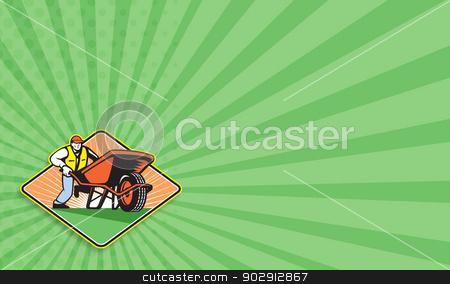 Gardener Pushing Wheelbarrow Retro stock photo, Business card template showing illustration of male gardener walking pushing wheel barrow viewed from front on low angle set inside diamond shape. by patrimonio