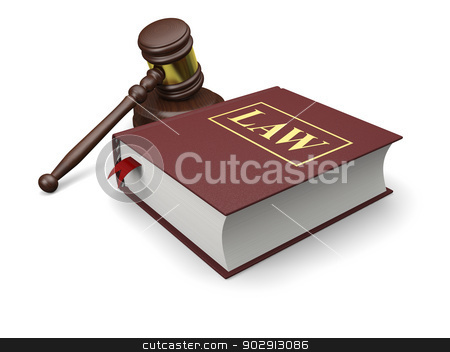 Legal education stock photo, Gavel and law book isolated on white background, symbols of law and justice by Harvepino
