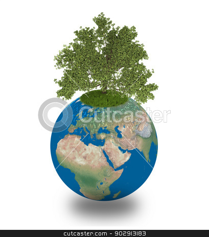 Oak tree on planet Earth stock photo, Oak tree growing on planet Earth, isolated on white background, concept of environment and ecology. Elements of this image furnished by NASA by Harvepino