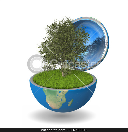 Tree inside planet stock photo, Planetree growing inside opened planet Earth, isolated on white background, concept of ecology. Elements of this image furnished by NASA by Harvepino