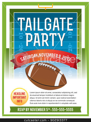 American Football Tailgate Party Flyer Design stock vector clipart, A vector flyer design perfect for tailgate parties, football invites, etc. EPS 10. File contains transparencies. EPS text is layered for easy removal and customizing. by Jason Enterline