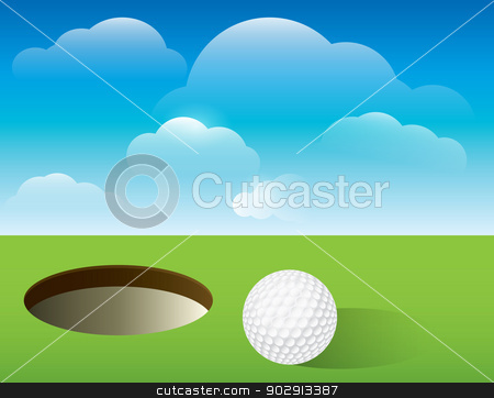 Golf Background Putting Green stock vector clipart, A nice illustration for a golf tournament invitation, poster, golf flyer, and more. Golf ball next to cup on green.  Vector EPS 10 available. EPS file contains transparencies and mask. EPS is layered for easy addition and subtraction of elements. by Jason Enterline