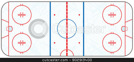Vector Ice Hockey Rink With Skate Marks stock vector