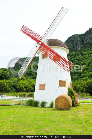 Beautiful windmill landscape in Thailand stock photo, Beautiful windmill landscape in Thailand by doraclub