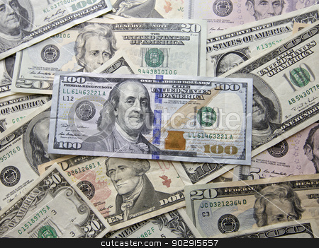 American Dollar stock photo, American Greenback Dollar Notes with various bank notes by Vividrange