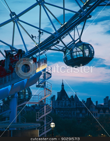 London Eye  stock photo, View the London Eye in London city centre and Thames river by Vividrange