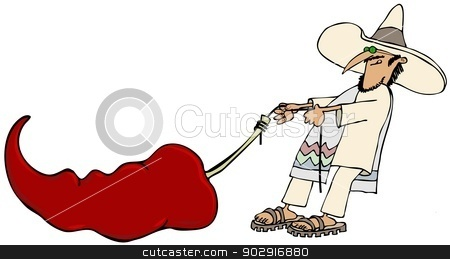 Mexican pulling a giant pepper stock photo, This illustration depicts a Mexican man in a traditional outfit and sombrero dragging a giant red pepper. by Dennis Cox