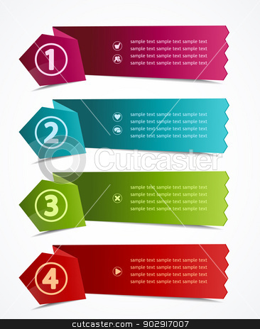 design template stock vector clipart, vector design template with  numbered banners by Miroslava Hlavacova
