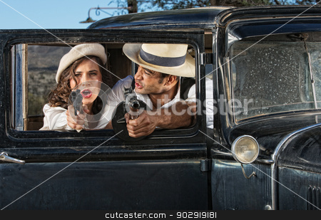 1920s Era Criminals Shooting stock photo, Criminals in 1920s retro car firing weapons by Scott Griessel