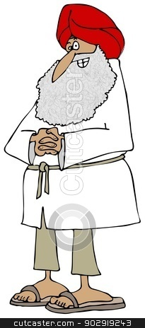 Sikh man stock photo, This illustration depicts a man wearing a Sikh turban. by Dennis Cox