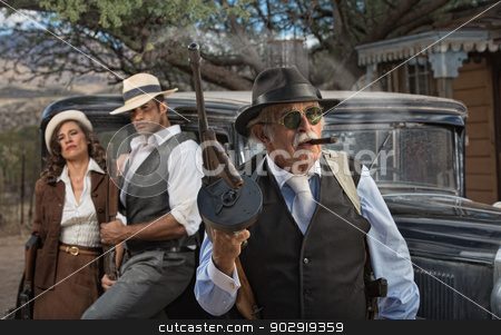 Gangster Boss with Partners stock photo, Tough 1920s gangster boss with partners by Scott Griessel