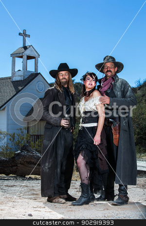 Old West Characters Pose stock photo, Old West Characters Pose Infront of Church by Scott Griessel