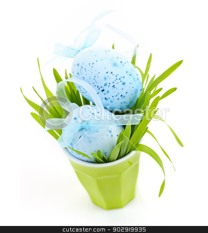 Easter eggs arrangement stock photo, Blue Easter eggs arranged in cup with fresh green grass isolated on white by Elena Elisseeva