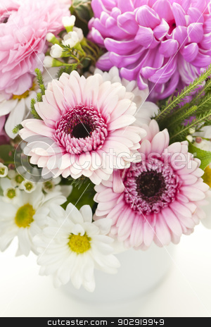 Bouquet of pink flowers stock photo, Bouquet of pink and white flowers arranged in small vase by Elena Elisseeva