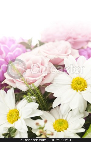 Bouquet of flowers stock photo, Fading background of flower arrangement with pink and white flowers by Elena Elisseeva