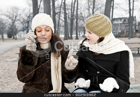 Cell phone etiquette problem stock photo, Woman shocked by friend ignoring her with phone call by Elena Elisseeva