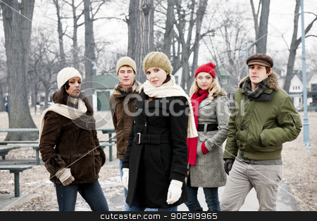 Group of young friends outside in winter stock photo, Group of diverse young people outdoors in winter park by Elena Elisseeva