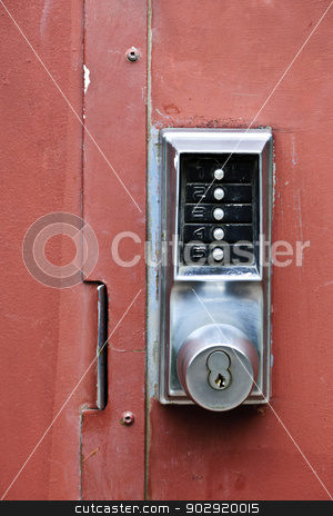 Security lock on metal door stock photo, Metal door with push button security lock by Elena Elisseeva
