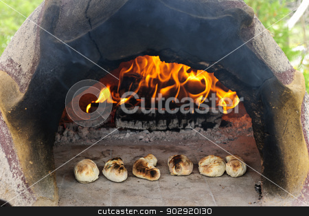 Stone wood oven baking bread stock photo, Stone wood oven with fire baking fresh homemade bread by Elena Elisseeva