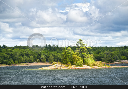 Island in Georgian Bay stock photo, Small island and beach in Killbear provincial park near Parry Sound, Ontario Canada by Elena Elisseeva