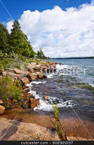 Rocky shore in Georgian Bay stock photo, Rocky lake shore of Georgian Bay in Killbear provincial park near Parry Sound, Ontario Canada by Elena Elisseeva