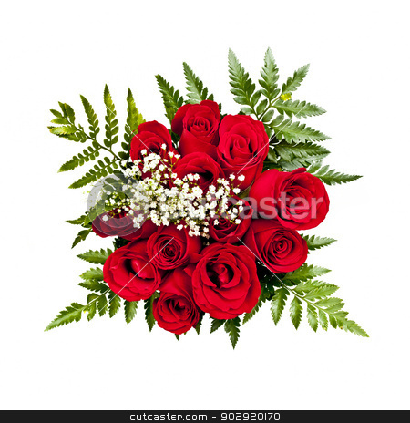 Rose bouquet from above stock photo, Bouquet of a dozen red roses from above on white background by Elena Elisseeva